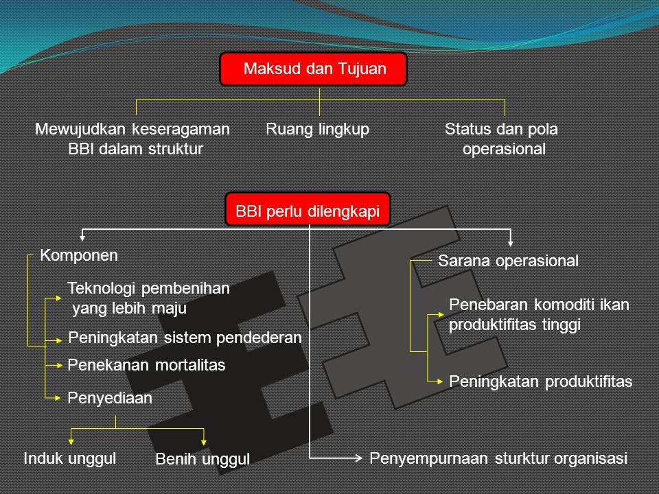 Ketinggian dan kemiringan Tinggi < 700 m dplKemiringan tanah 1 – 5 % Tanah KuatTidak poreus SuburTidak berbatu Sistem pengairan Sumber Mata air Sumur artesis/bor Debit air Min 20 lt/HA/detik (kolam induk) 250 l/detik/100 m (kolam air deras) 2 Persyaratan Pembangunan BBI Kriteria teknik