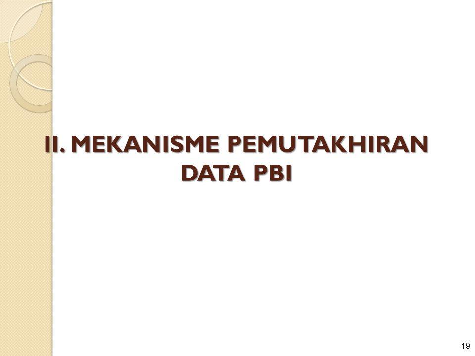 19 II. MEKANISME PEMUTAKHIRAN DATA PBI