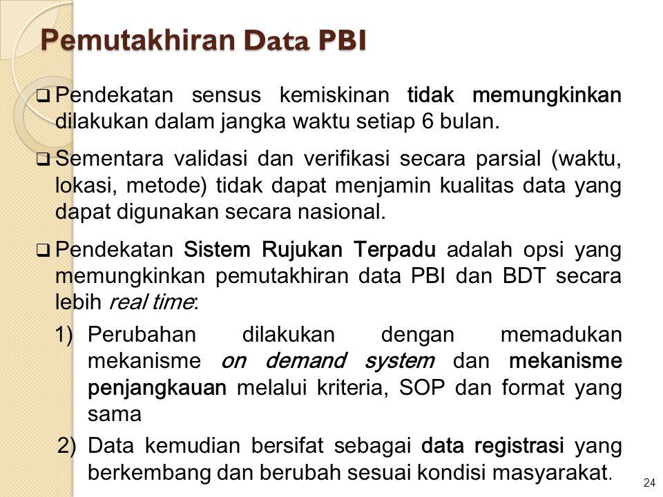 24 Pemutakhiran Data PBI  Pendekatan sensus kemiskinan tidak memungkinkan dilakukan dalam jangka waktu setiap 6 bulan.  Sementara validasi dan verif