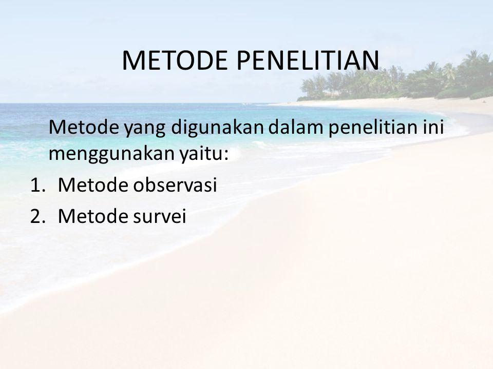 METODE PENELITIAN Metode yang digunakan dalam penelitian ini menggunakan yaitu: 1.Metode observasi 2.Metode survei