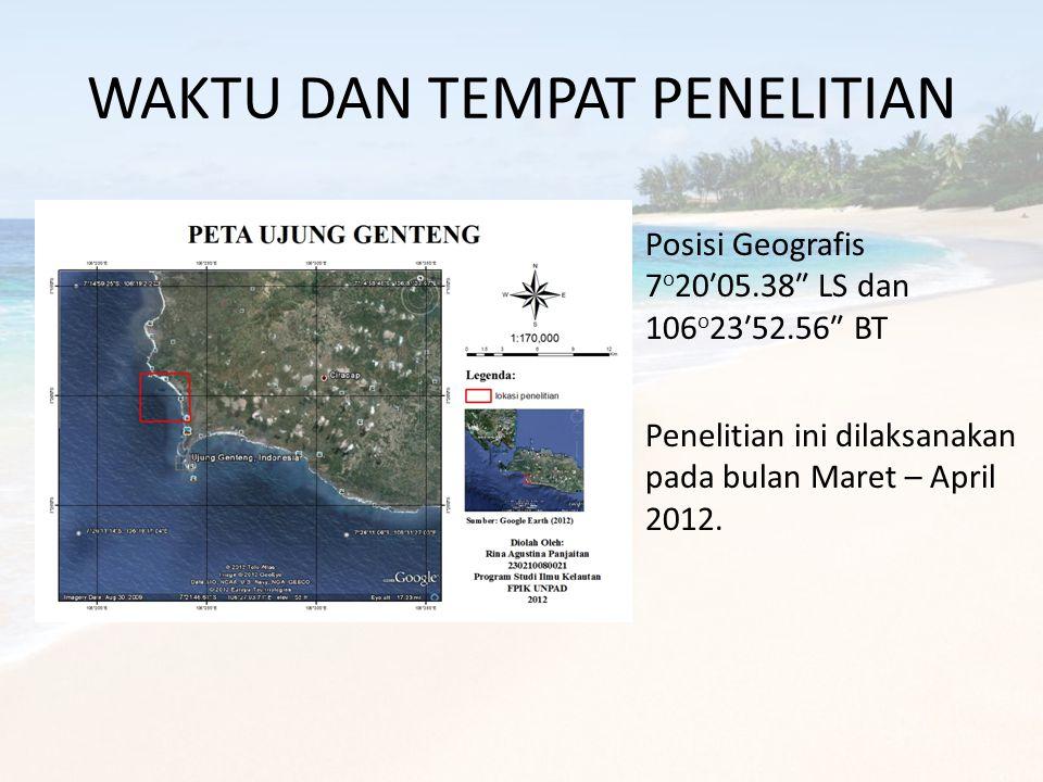 WAKTU DAN TEMPAT PENELITIAN Posisi Geografis 7 o 20′05.38″ LS dan 106 o 23′52.56″ BT Penelitian ini dilaksanakan pada bulan Maret – April 2012.