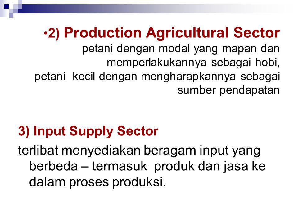 3) Input Supply Sector terlibat menyediakan beragam input yang berbeda – termasuk produk dan jasa ke dalam proses produksi. •2) Production Agricultura