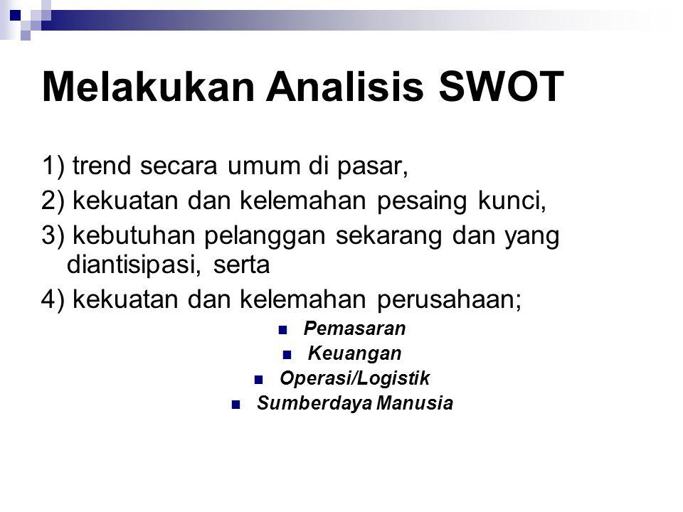 Melakukan Analisis SWOT 1) trend secara umum di pasar, 2) kekuatan dan kelemahan pesaing kunci, 3) kebutuhan pelanggan sekarang dan yang diantisipasi,