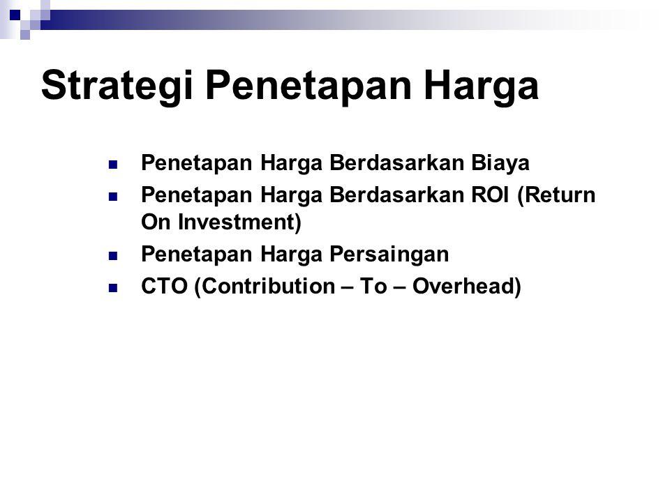 Strategi Penetapan Harga  Penetapan Harga Berdasarkan Biaya  Penetapan Harga Berdasarkan ROI (Return On Investment)  Penetapan Harga Persaingan  C
