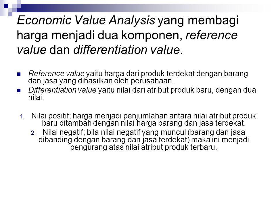 Economic Value Analysis yang membagi harga menjadi dua komponen, reference value dan differentiation value.  Reference value yaitu harga dari produk