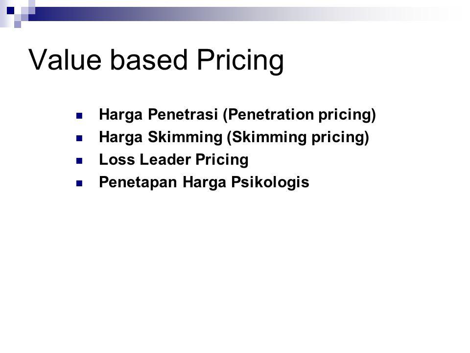 Value based Pricing  Harga Penetrasi (Penetration pricing)  Harga Skimming (Skimming pricing)  Loss Leader Pricing  Penetapan Harga Psikologis
