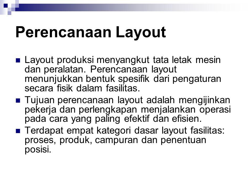 Perencanaan Layout  Layout produksi menyangkut tata letak mesin dan peralatan. Perencanaan layout menunjukkan bentuk spesifik dari pengaturan secara