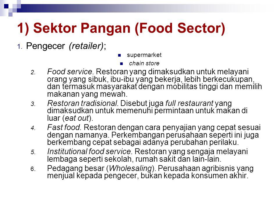 1) Sektor Pangan (Food Sector) 1. Pengecer (retailer);  supermarket  chain store 2. Food service. Restoran yang dimaksudkan untuk melayani orang yan