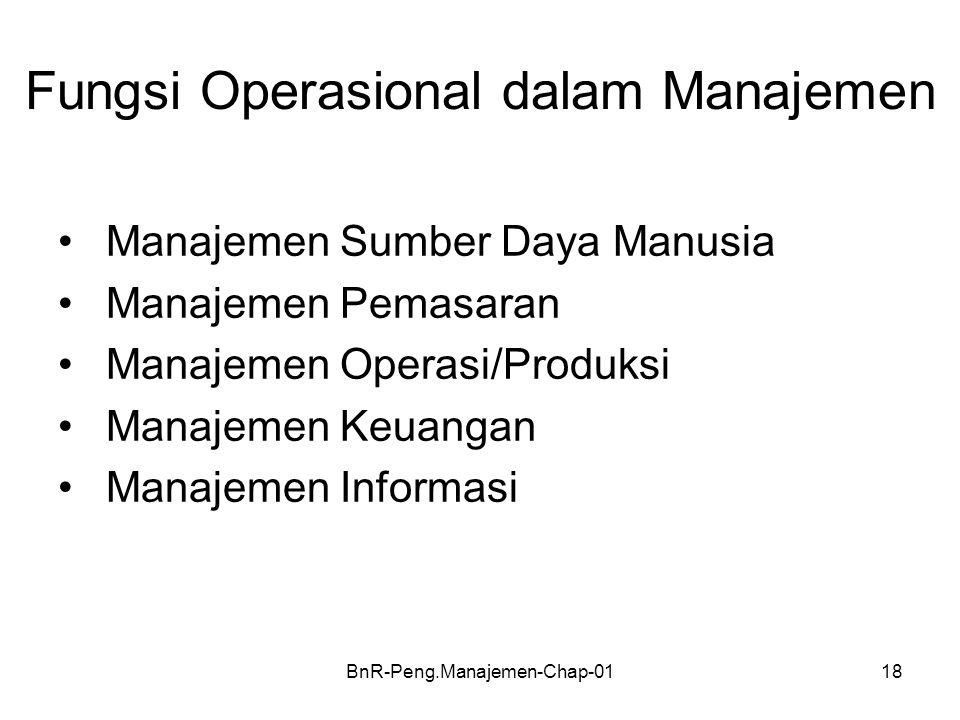 BnR-Peng.Manajemen-Chap-0118 Fungsi Operasional dalam Manajemen •Manajemen Sumber Daya Manusia •Manajemen Pemasaran •Manajemen Operasi/Produksi •Manaj