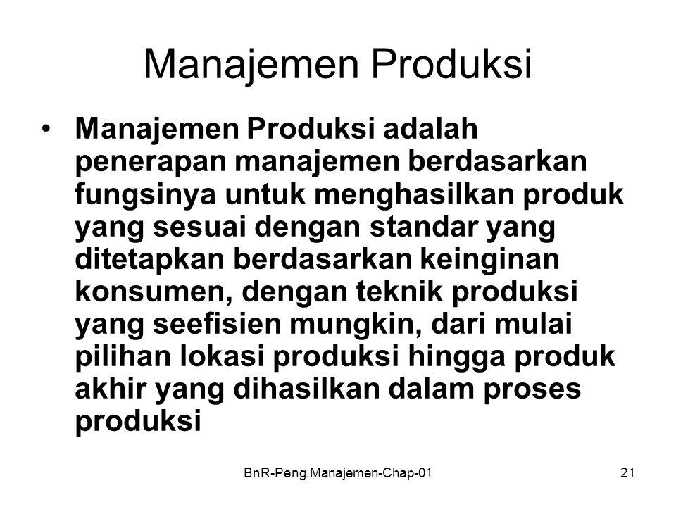BnR-Peng.Manajemen-Chap-0121 Manajemen Produksi •Manajemen Produksi adalah penerapan manajemen berdasarkan fungsinya untuk menghasilkan produk yang se