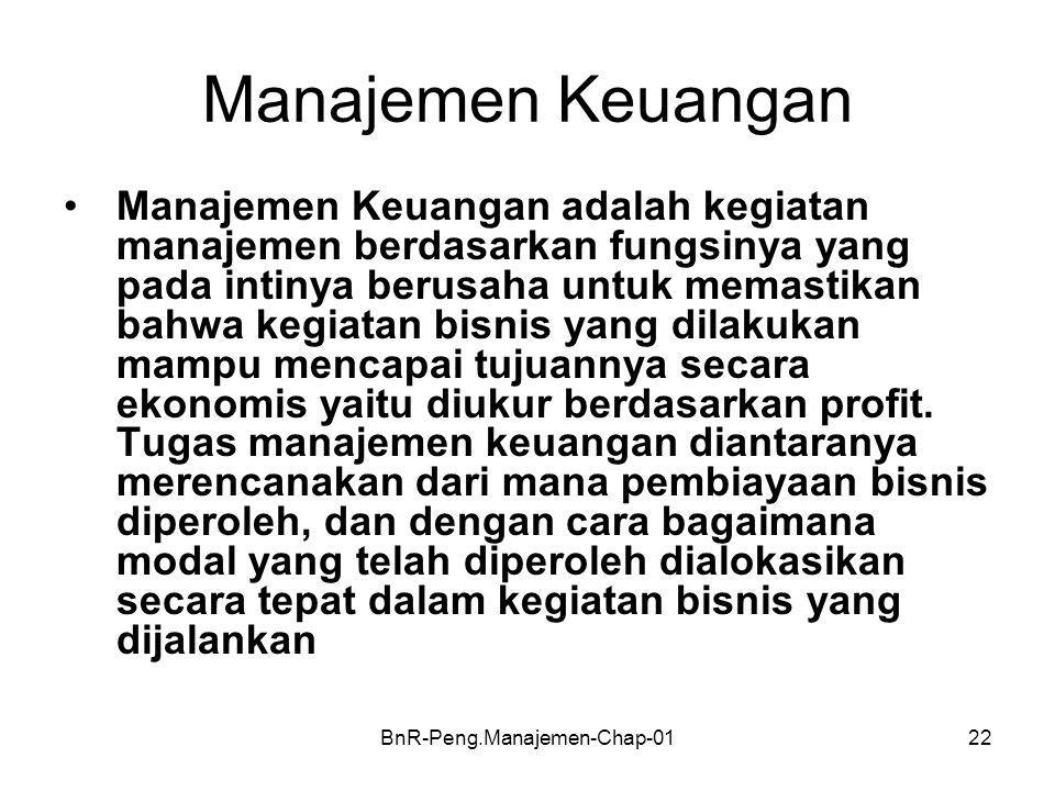 BnR-Peng.Manajemen-Chap-0122 Manajemen Keuangan •Manajemen Keuangan adalah kegiatan manajemen berdasarkan fungsinya yang pada intinya berusaha untuk m