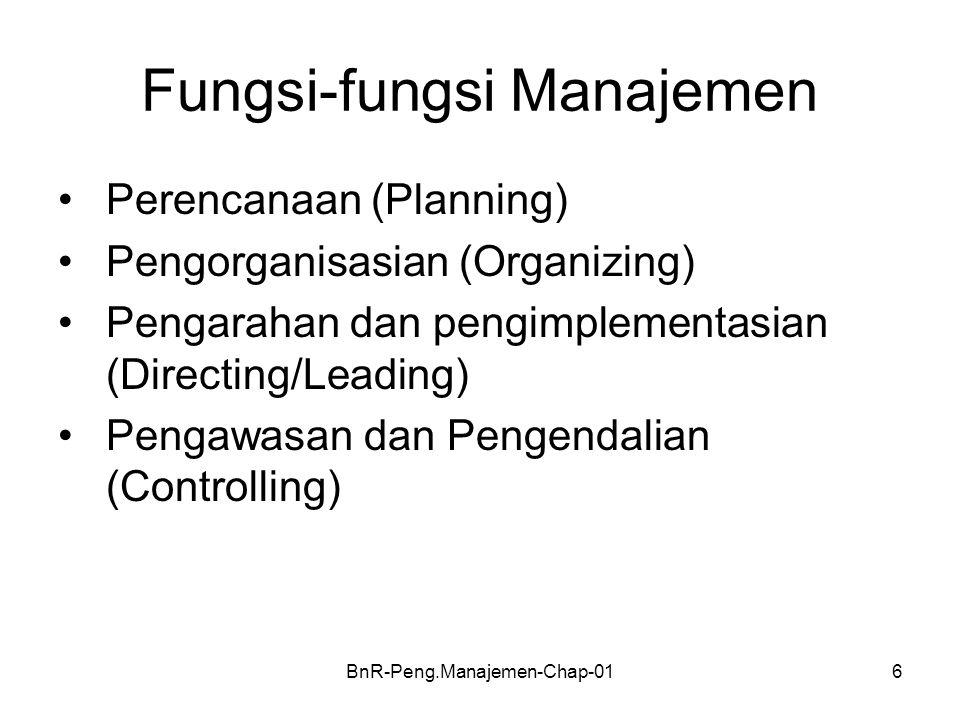BnR-Peng.Manajemen-Chap-016 Fungsi-fungsi Manajemen •Perencanaan (Planning) •Pengorganisasian (Organizing) •Pengarahan dan pengimplementasian (Directi