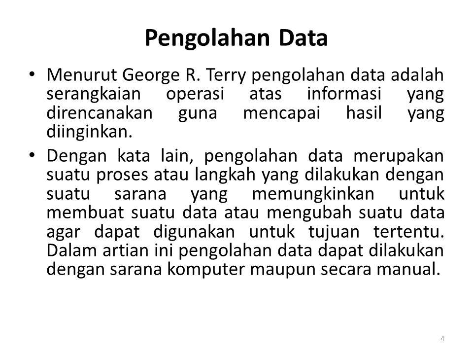 Pengolahan Data • Ada 8 pokok pengolahan data yang meliputi : – Reading (membaca) – Input Imasukan) – Output (keluaran) – Sorting (menyortir) – Transmiting (memindahkan) – Calculating (menghitung) – Comparing (membandingkan) – Storing (menyimpan) 5