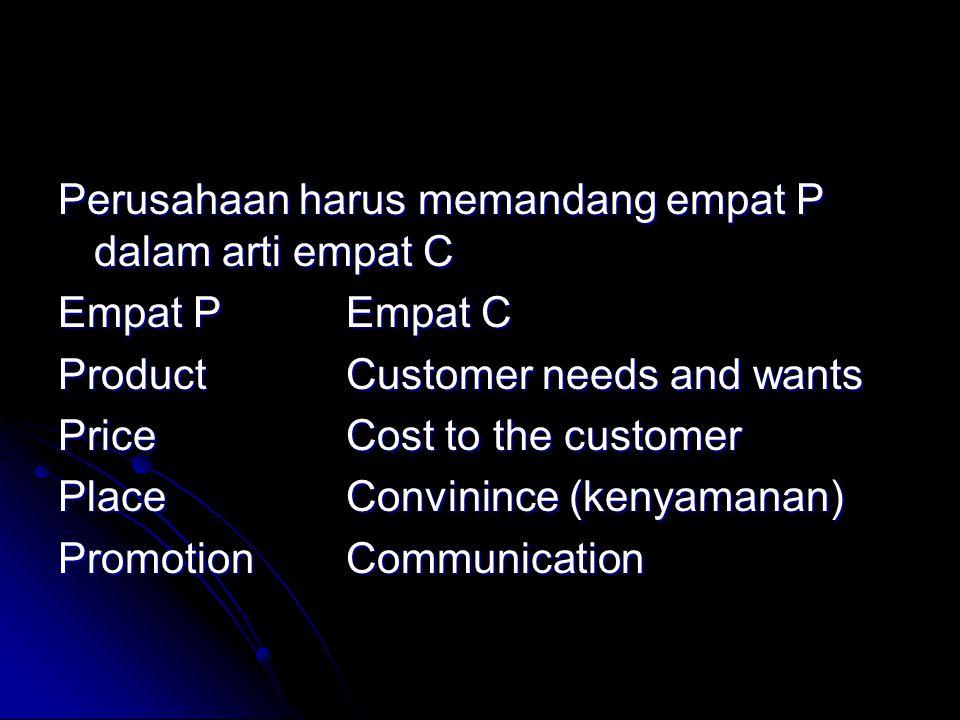 Perusahaan harus memandang empat P dalam arti empat C Empat PEmpat C ProductCustomer needs and wants PriceCost to the customer PlaceConvinince (kenyam