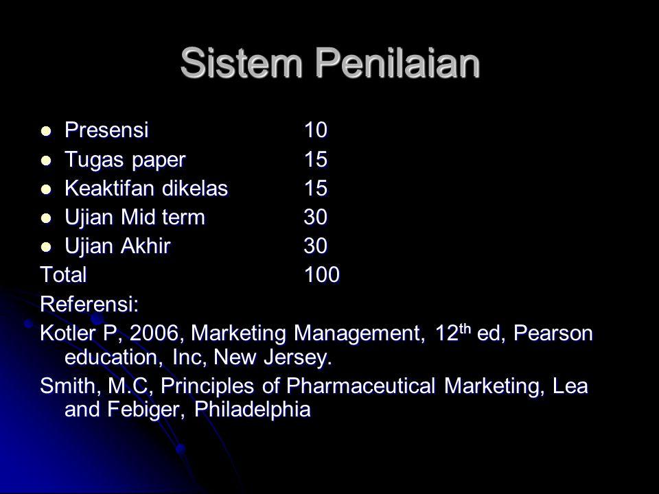 Sistem Penilaian  Presensi10  Tugas paper15  Keaktifan dikelas15  Ujian Mid term30  Ujian Akhir30 Total100 Referensi: Kotler P, 2006, Marketing M