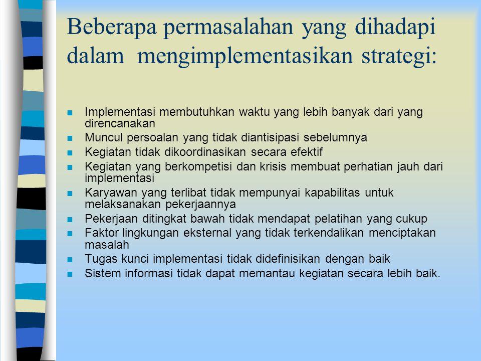 Beberapa permasalahan yang dihadapi dalam mengimplementasikan strategi: n Implementasi membutuhkan waktu yang lebih banyak dari yang direncanakan n Mu