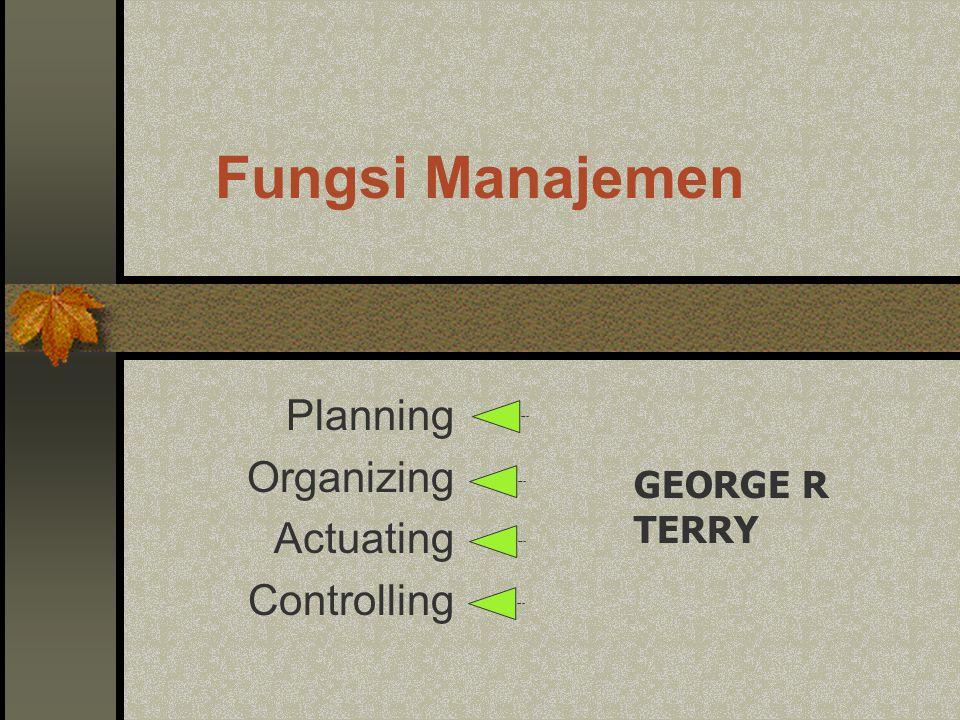 Fungsi Manajemen Planning Organizing Commanding Coordinating Controlling HENRY FAYOL :