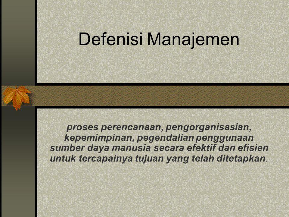 MANAJEMEN Diharapkan memahami : 1. Defenisi Manajemen 2. Tingkatan Manajemen 3. Fungsi Manajemen 4. Bidang-Bidang Manajemen