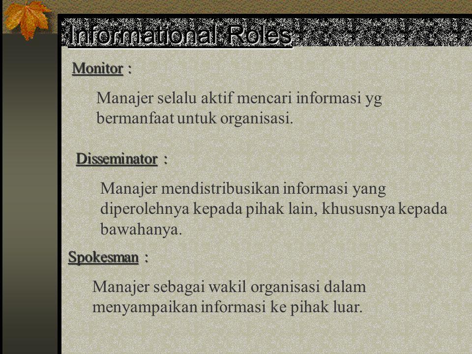 """Interpersonal Roles Figureheat : Peran figur bapak, lebih merupakan peranan manajer sebagai simbol """"pimpinan"""" serta menjadi simbol dan personifikasi o"""