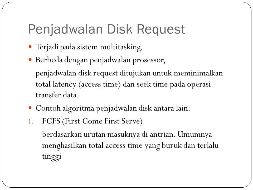 Penjadwalan Disk Request  Terjadi pada sistem multitasking.  Berbeda dengan penjadwalan prosessor, penjadwalan disk request ditujukan untuk meminima