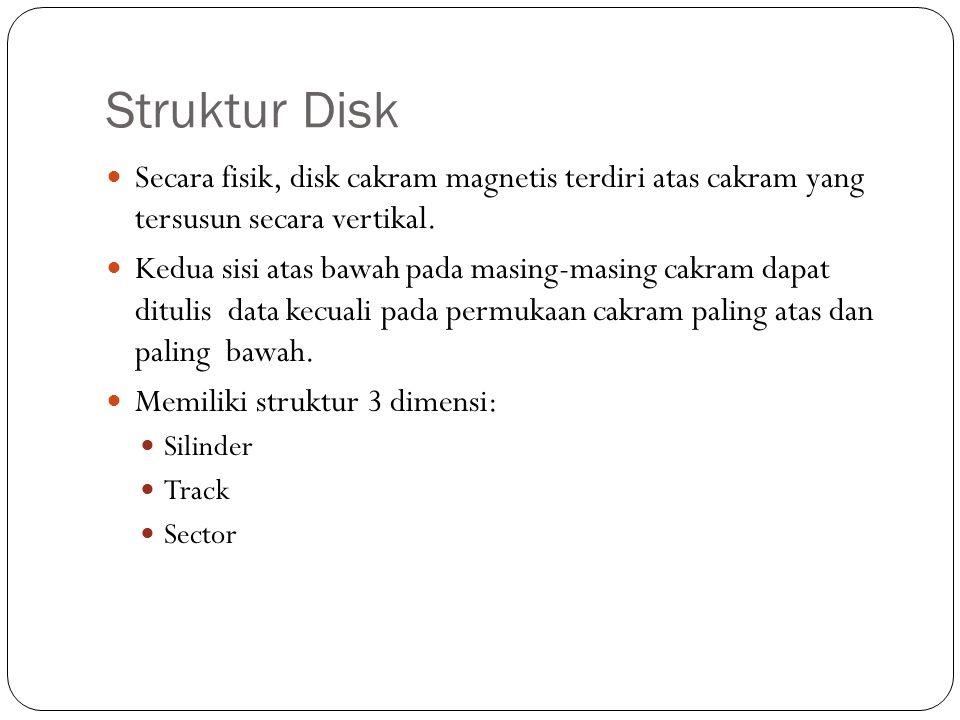Struktur Disk  Secara fisik, disk cakram magnetis terdiri atas cakram yang tersusun secara vertikal.  Kedua sisi atas bawah pada masing-masing cakra