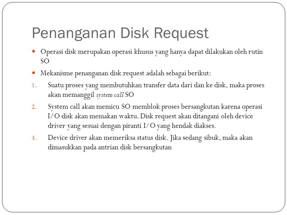 Penanganan Disk Request  Operasi disk merupakan operasi khusus yang hanya dapat dilakukan oleh rutin SO  Mekanisme penanganan disk request adalah se