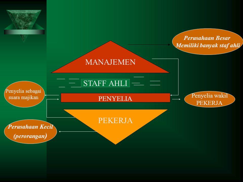 MANAJEMEN PENYELIA PEKERJA Perusahaan Besar Memiliki banyak staf ahli Perusahaan Kecil (perorangan ) Penyelia sebagai suara majikan Penyelia wakil PEK