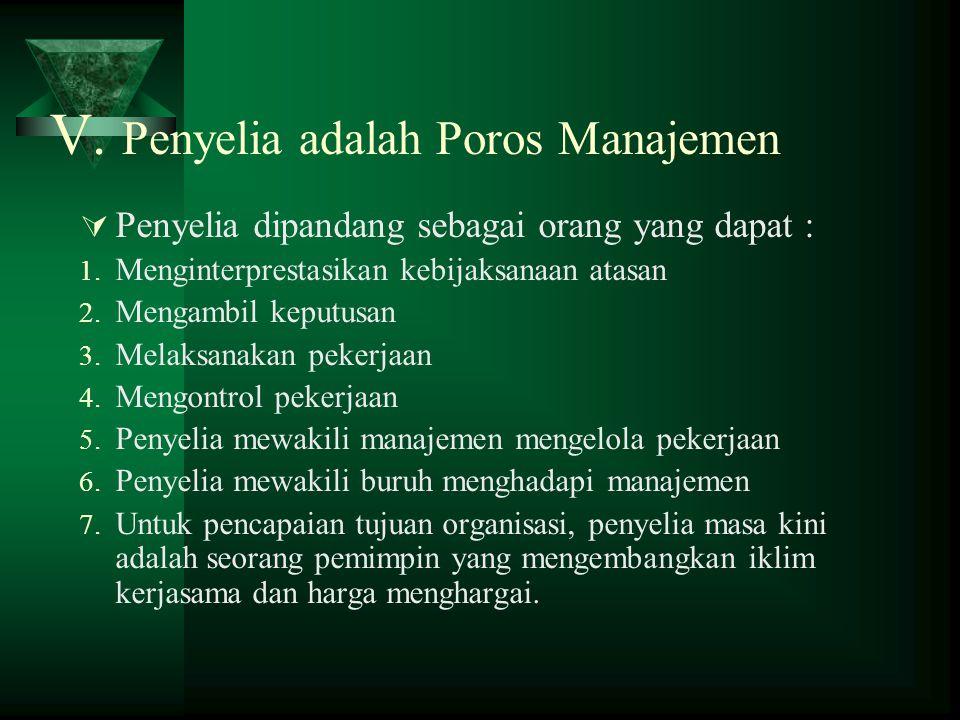V. Penyelia adalah Poros Manajemen  Penyelia dipandang sebagai orang yang dapat : 1. Menginterprestasikan kebijaksanaan atasan 2. Mengambil keputusan