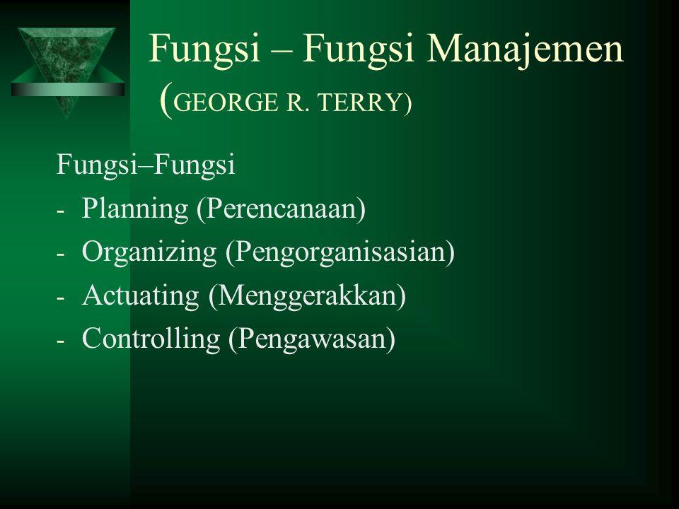 Fungsi – Fungsi Manajemen ( GEORGE R.