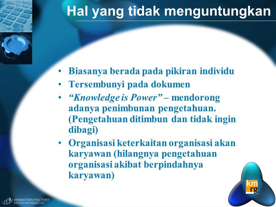 Hal yang tidak menguntungkan •Biasanya berada pada pikiran individu •Tersembunyi pada dokumen • Knowledge is Power – mendorong adanya penimbunan pengetahuan.