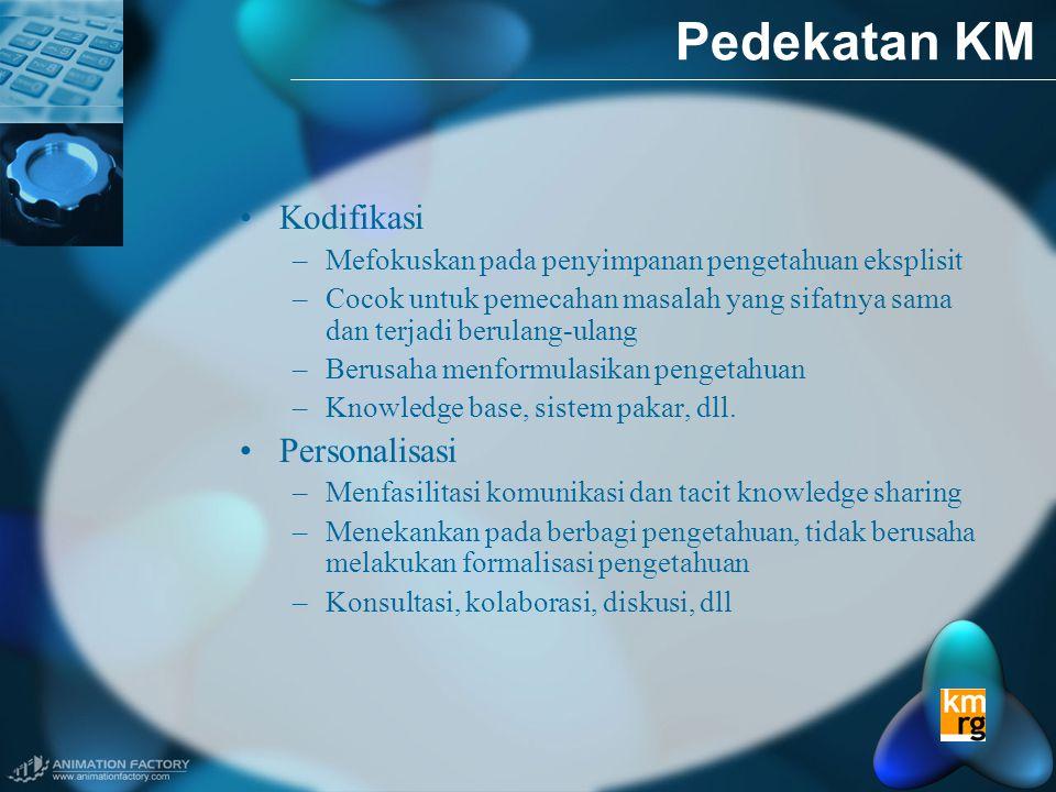 Pedekatan KM •Kodifikasi –Mefokuskan pada penyimpanan pengetahuan eksplisit –Cocok untuk pemecahan masalah yang sifatnya sama dan terjadi berulang-ulang –Berusaha menformulasikan pengetahuan –Knowledge base, sistem pakar, dll.