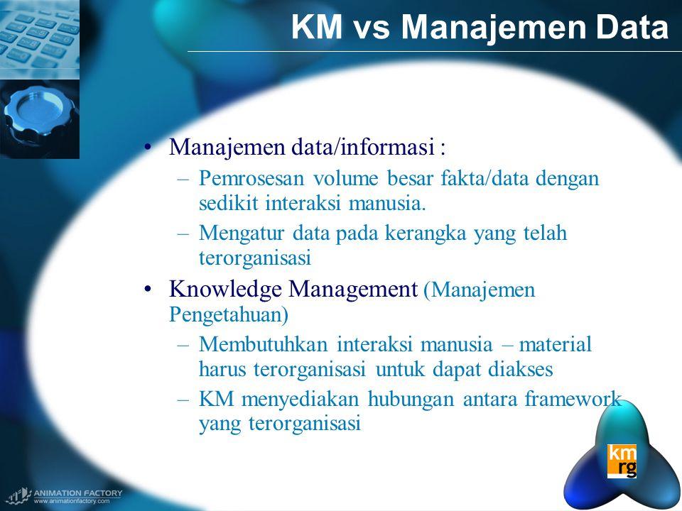 KM vs Manajemen Data •Manajemen data/informasi : –Pemrosesan volume besar fakta/data dengan sedikit interaksi manusia.