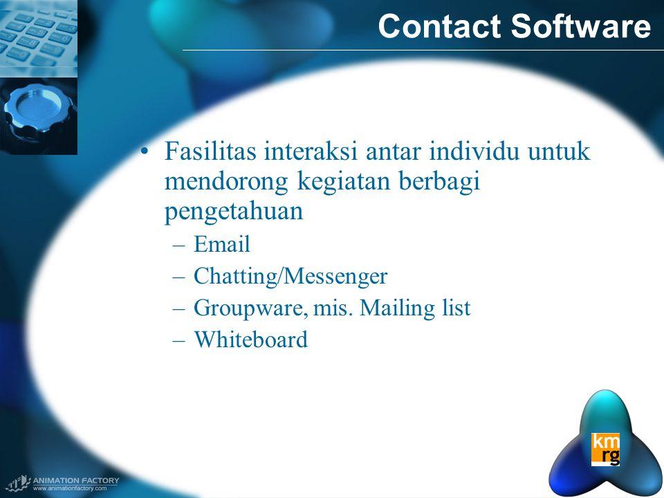 Contact Software •Fasilitas interaksi antar individu untuk mendorong kegiatan berbagi pengetahuan –Email –Chatting/Messenger –Groupware, mis.