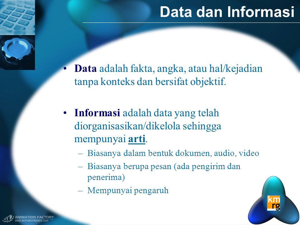 •Data adalah fakta, angka, atau hal/kejadian tanpa konteks dan bersifat objektif.