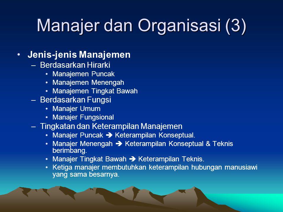 Manajer dan Organisasi (2) •Proses Manajemen –Perencanaan (Planning) •Menetapkan tujuan organisasi dan memilih cara terbaik untuk mencapai tujuan tersebut.