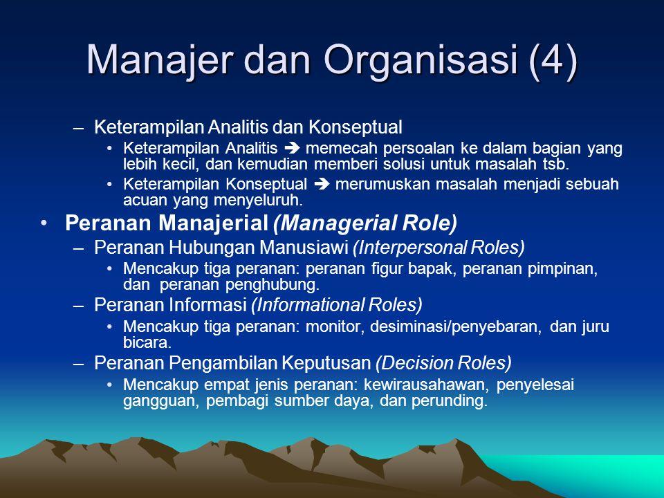 Manajer dan Organisasi (3) •Jenis-jenis Manajemen –Berdasarkan Hirarki •Manajemen Puncak •Manajemen Menengah •Manajemen Tingkat Bawah –Berdasarkan Fungsi •Manajer Umum •Manajer Fungsional –Tingkatan dan Keterampilan Manajemen •Manajer Puncak  Keterampilan Konseptual.