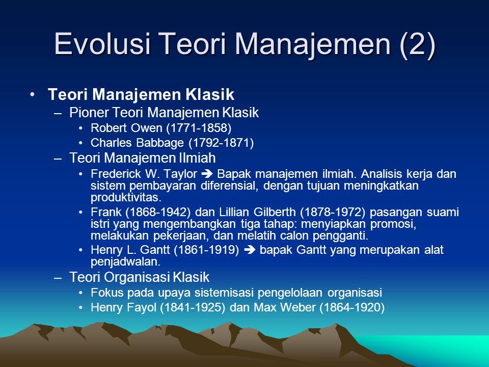 Evolusi Teori Manajemen •Kenapa Teori.