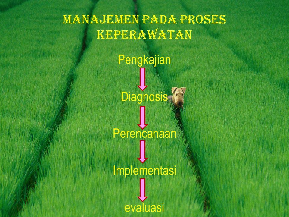Pengkajian Diagnosis Perencanaan Implementasi evaluasi Manajemen pada proses keperawatan