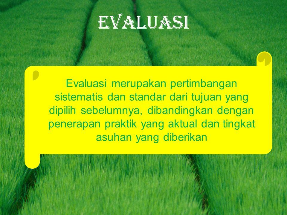 EVALUASI Evaluasi merupakan pertimbangan sistematis dan standar dari tujuan yang dipilih sebelumnya, dibandingkan dengan penerapan praktik yang aktual dan tingkat asuhan yang diberikan