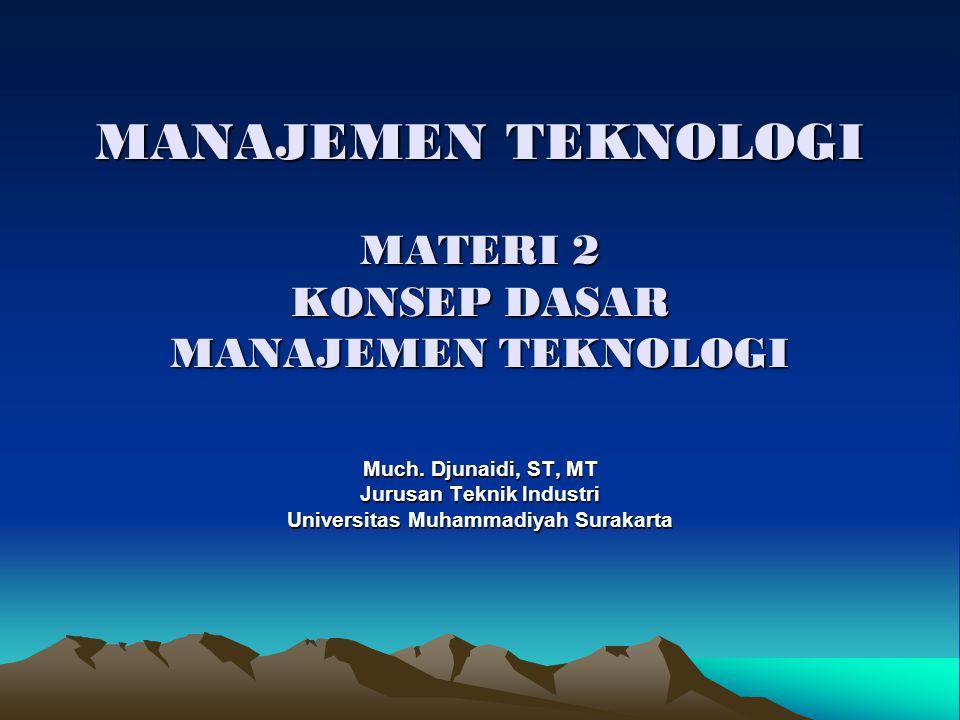 Konsep Dasar Manajemen Teknologi - Filsafat Teknologi - - Pemahaman Teknologi - - Teknologi sebagai Sistem - - Definsi Manajemen Teknologi - - Kajian Manajemen Teknologi - - Three Level Characteristic of Manufacturing System - - Ruang lingkup Manajemen Teknologi -