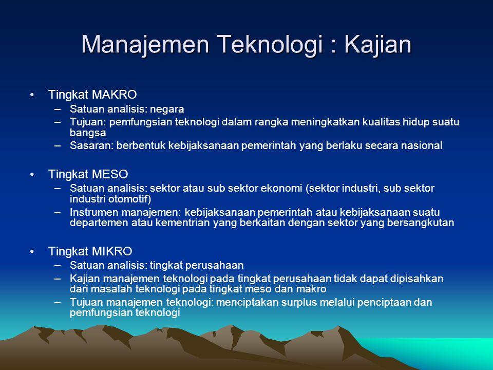 Manajemen Teknologi : Kajian •Tingkat MAKRO –Satuan analisis: negara –Tujuan: pemfungsian teknologi dalam rangka meningkatkan kualitas hidup suatu ban