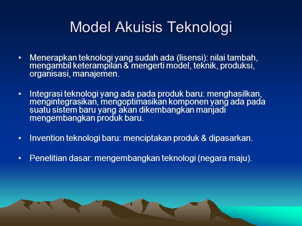 Model Akuisis Teknologi •Menerapkan teknologi yang sudah ada (lisensi): nilai tambah, mengambil keterampilan & mengerti model, teknik, produksi, organ