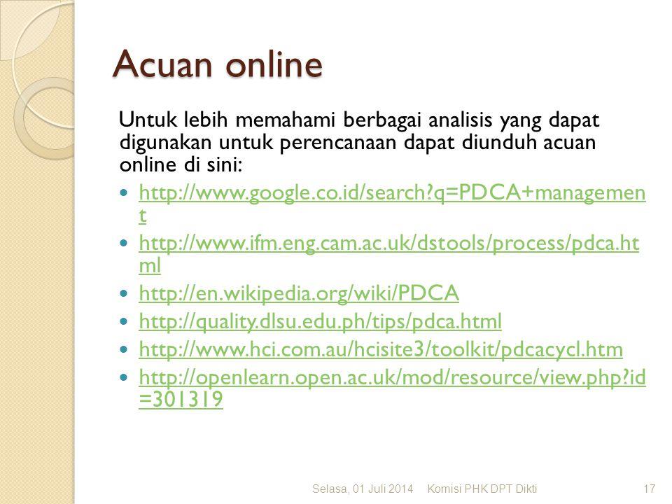 Acuan online Untuk lebih memahami berbagai analisis yang dapat digunakan untuk perencanaan dapat diunduh acuan online di sini:  http://www.google.co.id/search?q=PDCA+managemen t http://www.google.co.id/search?q=PDCA+managemen t  http://www.ifm.eng.cam.ac.uk/dstools/process/pdca.ht ml http://www.ifm.eng.cam.ac.uk/dstools/process/pdca.ht ml  http://en.wikipedia.org/wiki/PDCA http://en.wikipedia.org/wiki/PDCA  http://quality.dlsu.edu.ph/tips/pdca.html http://quality.dlsu.edu.ph/tips/pdca.html  http://www.hci.com.au/hcisite3/toolkit/pdcacycl.htm http://www.hci.com.au/hcisite3/toolkit/pdcacycl.htm  http://openlearn.open.ac.uk/mod/resource/view.php?id =301319 http://openlearn.open.ac.uk/mod/resource/view.php?id =301319 Selasa, 01 Juli 2014Komisi PHK DPT Dikti17