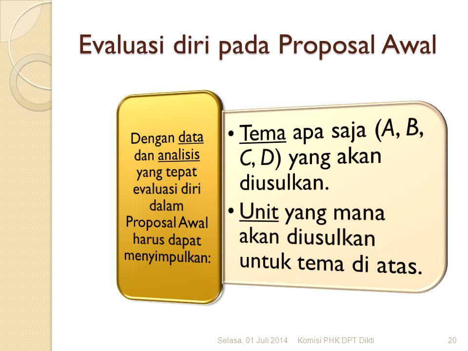 Evaluasi diri pada Proposal Awal Selasa, 01 Juli 2014Komisi PHK DPT Dikti20