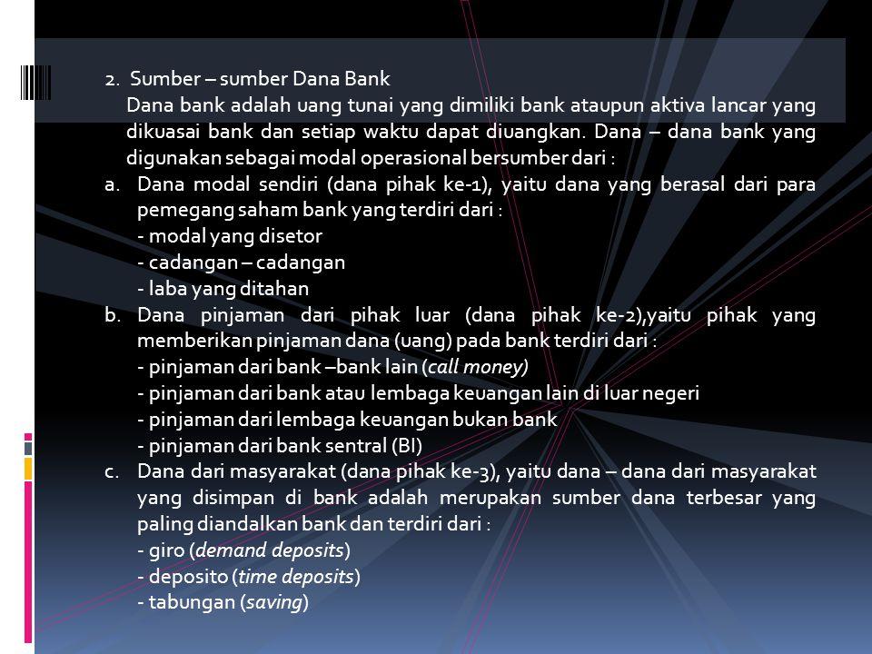 1.Sistem Manajemen Dana Bank Fungsi utama bank : a.Menghimpun dana masyarakat b.Memberikan kredit Manajemen dana bank sebagai suatu proses pengelolaan