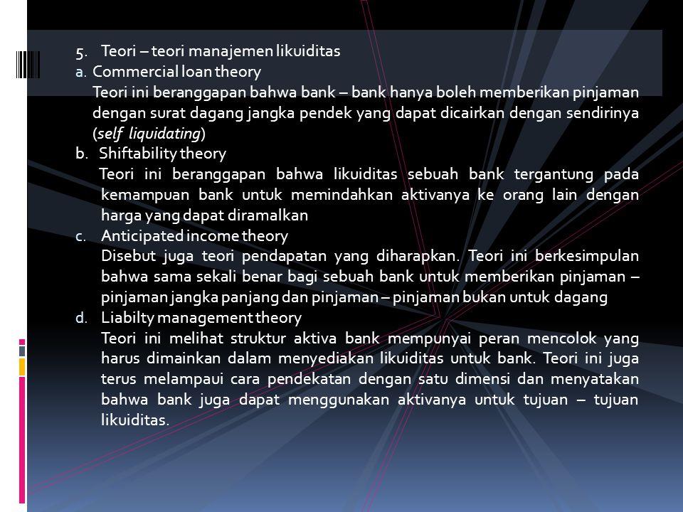 4. Ketentuan – ketentuan umum tentang likuiditas a. Likuiditas rupiah Ketentuan mengenai Likuiditas Rupiah sebagai berikut : • Likuiditas minimum yang