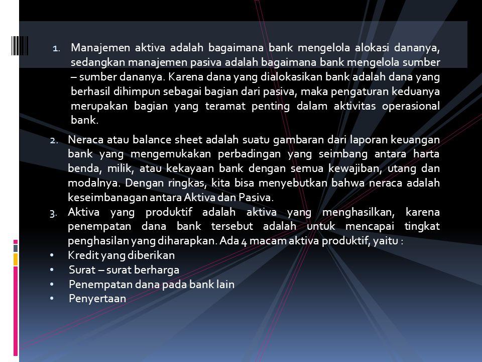 BAB VI. MANAJEMEN AKTIVA DAN PASIVA 1. Pengertian Umum 2. Mengenal Pos – Pos Neraca (Balance Sheet) Bank Komersial /Bank Umum 3. Aktiva Yang Produktif