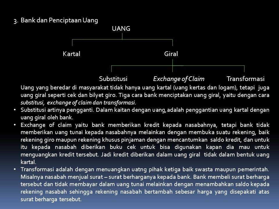 3.Bank dan Penciptaan Uang UANG Kartal Giral SubstitusiExchange of Claim Transformasi Uang yang beredar di masyarakat tidak hanya uang kartal (uang kertas dan logam), tetapi juga uang giral seperti cek dan bilyet giro.