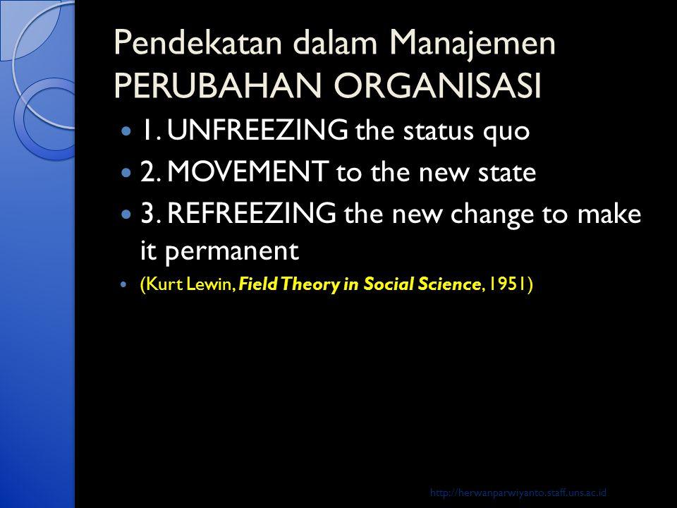 Pendekatan dalam Manajemen PERUBAHAN ORGANISASI  1. UNFREEZING the status quo  2. MOVEMENT to the new state  3. REFREEZING the new change to make i