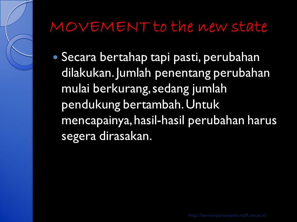 MOVEMENT to the new state  Secara bertahap tapi pasti, perubahan dilakukan. Jumlah penentang perubahan mulai berkurang, sedang jumlah pendukung berta